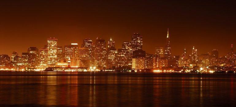 An aerial view of San Francisco at night.